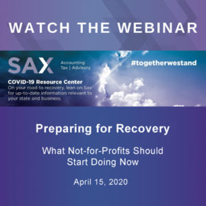 Watch the Webinar: Prepare for the Recovery – What Nonprofits Can Do Now: Part I